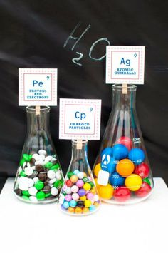 Science Birthday Party Ideas with decorative candy Beakers for Fun & Games with Science Themes Mad Science Party, Mad Scientist Party, Science Cake, Easy Science, Kids Party Themes, Ideas Party, Fun Ideas, 6th Birthday Parties, Birthday Ideas