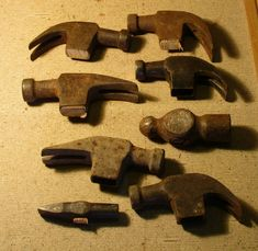 Hammer heads old rusty antique eight in lot Claw Hammer, Rusty Metal, Vintage Tools, Canes, Blacksmithing, Sticks, Hobbies, Antiques, Photos