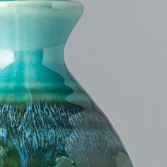 Detail of Sake Jug in wonderful Aqua & Dark Green colours! Green Colors, Colours, Sake Bottle, Japanese Sake, Pink Bottle, Lava Lamp, Blue Stripes, Black Backgrounds, Aqua