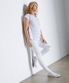 White Ripped Knee Over The Bump Skinny Maternity Jeans