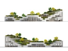 Super Market Sanya Lake Park is a proposal for an underground grocery store topped with ground level retail and a lush terraced park on top, which is designed by NL Architects for a resort town in China - architecture Architecture Module, Architecture Concept Diagram, Green Architecture, Sustainable Architecture, Landscape Architecture, Landscape Design, Architecture Design, Drawing Architecture, Architecture Portfolio