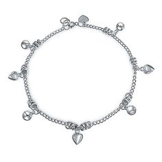 Bling Jewelry Heart Jingle Bell Charms 925 Silver Anklet 9.5 Inches ** Read more at the image link.