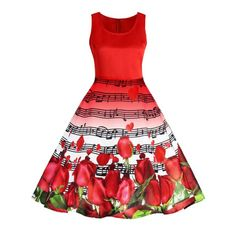 Musical Notes Roses Print Valentines Day Flared Dress - Red 2xl
