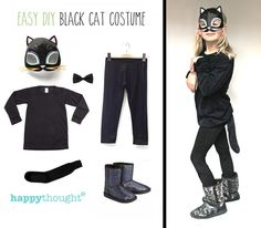 Halloween black cat costume idea: Printable cat mask to top it off!