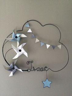 Réalisation d'un prénom en fil d'aluminium avec étoile, fanions, et moulins à vent très originale pour décorer la chambre de votre enfant dimensions : largeur 51 X hauteur  - 12055469
