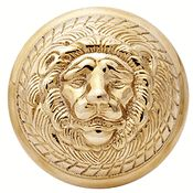 Solid Brass MGM Lion Head Spare Door Knob Set (Polished Brass Finish)