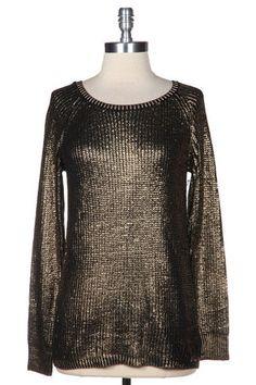 Metallic Fever Sweater - Black + Gold $38.00