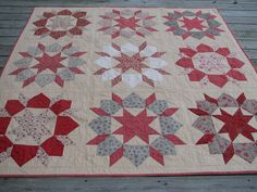 """Quilt pattern """"Swoon"""" in red, tan and grey or French general fabrics Sampler Quilts, Star Quilts, Scrappy Quilts, Two Color Quilts, Blue Quilts, French General Fabric, Modern Quilt Blocks, Red And White Quilts, Civil War Quilts"""