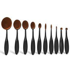 10 Piece Oval Makeup Brush Set