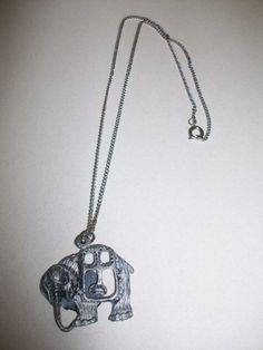 Pewter Elephant Necklace MM33 GIGANTIC 5 Dollar SALE by MICSJWL, $5.00