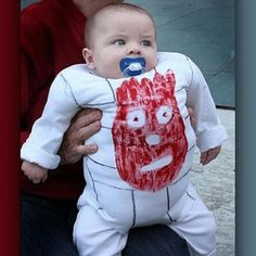 Poor baby...but seriously, amazing baby Halloween costume. Better than a baby dressed as a pumpkin any day.