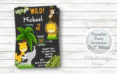 Jungle invitation, Safari birthday, Lion, Elephant, Jugle invites, Safari party, Safari printable, Jungle birthday invitation, Wild animals