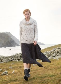 Fisherman Cowl Cable Sweater: Knit with 100% extra fine merino wool, this supersoft aran sweater from Fisherman Out of Ireland is a wonderful addition to any knitwear collection. It features a giant cowl neckline and a chunky cable knit stitch throughout. Perfect for keeping cosy and stylish. #sweater #jumper #aransweater #aranjumper #knitwear #knit #cowl #cableknit #cablesweater #ireland #irish #aw17 #fisherman #fashion #style #irishdesign #wearirish #fallfavorites2017 #fallfashion #ootd