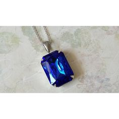 Sapphire Rhinestone Necklace ($23) ❤ liked on Polyvore featuring jewelry and necklaces