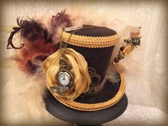 Brown and Gold Mini Top Hat Steampunk Hat Mad by MKButlerDidIt