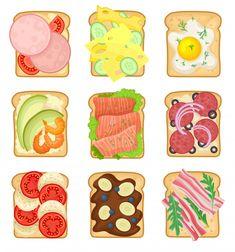 Menu Illustration, Food Illustrations, Cereal Bread, Bread Food, Sandwich Drawing, Recipe Drawing, Coffee Bread, Food Truck Festival, Good Morning Breakfast