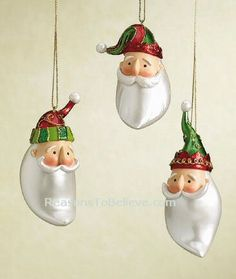 Pearly Santas--3 Pearly Santa ornaments - so named due to their Pearl-like shiny beards. Bright and colorful with accents of green and gold.