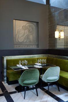 Monsieur Bleu at Palais de Tokyo in Paris | Yellowtrace. Joseph Dirand, Luxury Restaurant, Commercial Architecture, New Paris, Paris France, Ottoman, Flooring, Chair, Carne