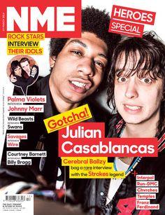 NME magazine cover, Julian Casablancas from The Strokes & Cerebral Ballzy, March 2014 Julian Casablancas, The Strokes, Nme Magazine, Magazine Covers, Billy Bragg, Courtney Barnett, Mark Foster, Grateful Dead Music, Johnny Marr