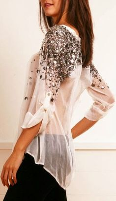 Bedazzled Shoulders Lace Shirt With Black by Fun & Fashion Hub
