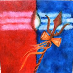 ABOUT THE PAINTING This abstract painting is a representative art of Lord Shiva and his Third Eye using minimal elements in abstract style suitable for any modern space. This art is a representation of the the masculine (red) and the feminine (blue) in a person. The third eye is