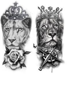 Lion Tattoo Sleeves, Best Sleeve Tattoos, Tattoo Sleeve Designs, Leo Lion Tattoos, Tiger Tattoo, Body Art Tattoos, Lion Tattoo Design, Sketch Tattoo Design, Lion King Art