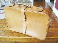 Mid Century Leather Suitcase Luggage Display by VintagObsessions