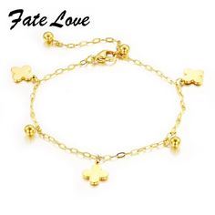 Casual Anklet Clover Bead Anklets For Women Gold Plated Stainless Steel Ladies Anklet Creative jewelry FL009