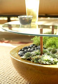 ~~Garden Table ideas - this image: garden table featuring a focal point planter filled with succulents and river stones, glass tabletop, easy to DIY | LiveDan330~~