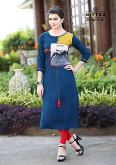 f54185c8ebb2e7 This Readymade piece is Enhanced with Resham Hand thread and Patch Border  (Edge) Work and is Crafted in Round Neck and Quarter Sleeves The Kurti  Length is ...