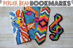 Perler Bead Bookmarks - CreativeMeInspiredYou.com hama beads, plastic beads, perler beads, beads, bookmarks, flat bookmarks, melted beads, melty beads, pixel art, music note, koi fish, tribal design, sun moon design, tribal, sun moon, handmade, homemade, diy, crafts, crafty, crafting, tweens, teens, kids, craft, summer boredom, boredom buster,easy crafts