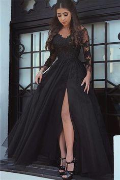 Long-Sleeve Black Slit Glamorous Lace Evening Dress long prom dresses M1502