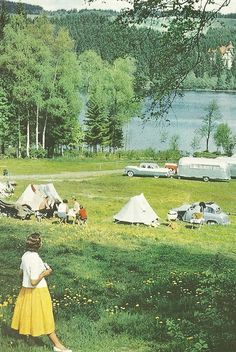 Tourists camping near the Black Forest, Germany, 1957. Preserve your life's memories for posterity at http://www.saveeverystep.com