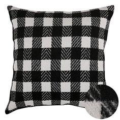 Deconovo Black and White Retro Checkered Plaid Throw Pillow Cover Tartan Plaid Cushion Cover for Patio Chair 18x18 Inch