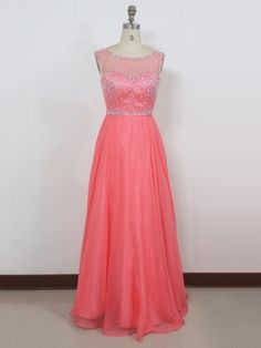 Tulle Chiffon Scoop Neck Floor-length A-line with Crystal Detailing Ball Dresses #PLS020104262