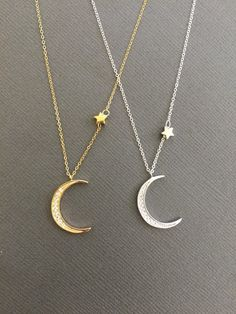 Simple everyday star and CZ Embdedded crescent Moon in sterling silver or 18 k gold over sterling silver vermeil charm Necklace on 925 Sterling silver or