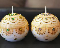 Set of 2 Crystal Ball Henna Candles (More Colors Available) - Henna Inspired Home/Wedding Decor and Favors/Diwali Gifts - Mehndi Favors Candle Art, Candle Magic, Candle Shop, Diwali Craft, Diwali Gifts, Henna Candles, Diy Candles, Pottery Painting, Dot Painting