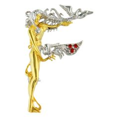 """From """"The Father of Art Deco"""" Erte Dazzling """"F"""" Shaped Pendant Brooch New 