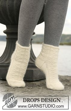 "DROPS socks with pattern in ""Merino"" and ""Kid-Silk"". ~ DROPS Design"