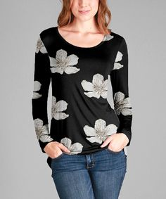 Take a look at this Black & White Floral Scoop Neck Top - Plus Too today!