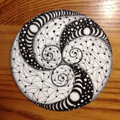Zentangle - Time To Tangle: A new tile - a Zendala! By Diane Lachance, CZT using many moons