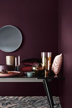 If you are among the many homeowners out there, you know how important Home Decoration can be. This article can help you avoid past mistakes and start your Home Decoration tasks off the right way. Dark Interiors, Colorful Interiors, Burgundy Walls, Burgundy Bedroom, Maroon Bedroom, Maroon Walls, Burgundy Decor, Burgundy Living Room, Violet Bedroom Walls