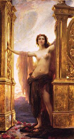 aphroditepandemos:Herbert James Draper -The Gates of Dawn (Aurora)