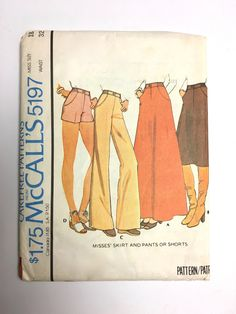 Vintage Sewing Pattern Women's 70's Uncut, McCall's 5197, Skirt, Pants, Shorts (XL) by Freshandswanky on Etsy