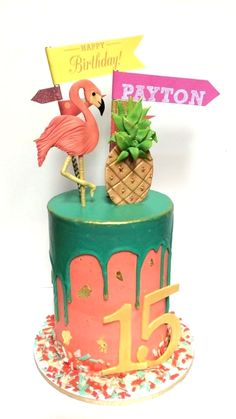 Girl birthday cake. summer. fun. flamingo. pineapple. gold. confetti. buttercream. ganache drip. pink. turquoise
