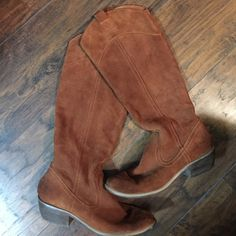 Tan suede boots Tan/brownish knee boots. Size 7 they look great with basically everything! Used but still have life in them. They are scuffed a bit as shown in the pic, and sole is used. Like I said still in good decent condition  Restricted Shoes Heeled Boots