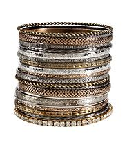 Mixed Metal Set of Bangles by R.J.GRAZIANO
