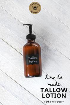 Beef tallow lotion DIY, light and non greasy. #hairandbeauty #bathandbody #diyskincarerecipes