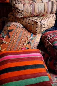 Latest shipment of Moroccan Kilim floor cushions  for information contact victoriataylordesign.net