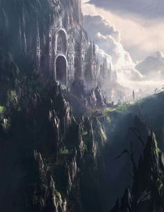 fantasy landscape Epic landscape art, Huge mountains castle in the edge Landscape illustration, fantasy mountains, castle mountains draving Fantasy City, Fantasy Castle, Fantasy Places, Fantasy Kunst, High Fantasy, Medieval Fantasy, Fantasy World, Elves Fantasy, Final Fantasy
